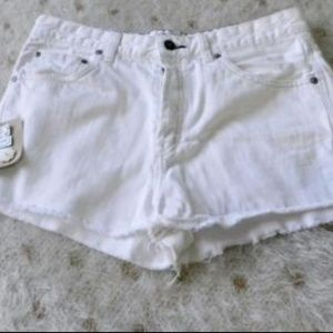 Free People Optic White Cut Off Jean Shorts Sz 30
